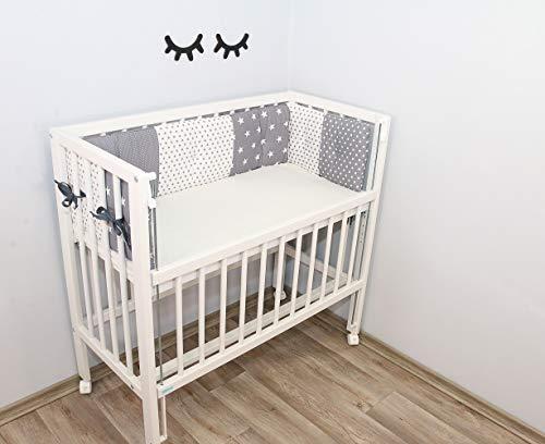 ULLENBOOM Baumwoll-Babynest für Beistellbett l Bettumrandung aus Volumenvlies zum Kopfschutz des Babys l 170 cm x 25 cm   Graue Sterne