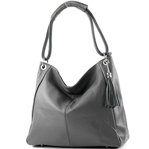 modamoda de - ital. Ledertasche Shopper Damentasche XL DIN A4 Schultertasche Leder T165, Dunkelgrau, siehe Beschreibung