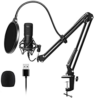 Riiai Condenser USB Microphone, Adjustable Streaming Podcast PC Microphone with Microphone Stand for Game Chat Studio Reco...