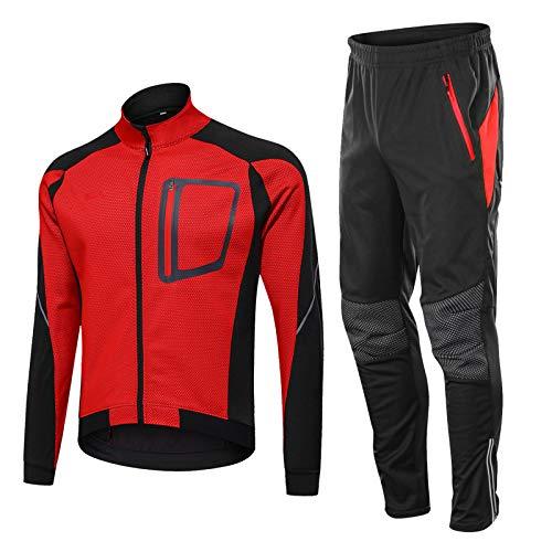 TZTED Veste à Manches Longues Hiver, Chaud Cyclage Thermique à Manches Veste + Pantalon de Vélo Pantalon pour Homme, Vélo Vêtements Coupe-Vent,Rouge,XL