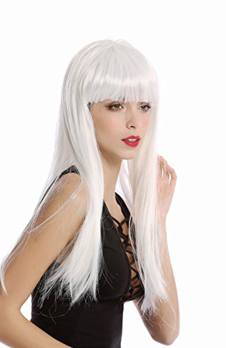 WIG ME UP - 91128-ZA80 Perruque Cheveux Lisses Blancs Frange Large Dame Halloween Carnaval Science Fiction androïde Disco