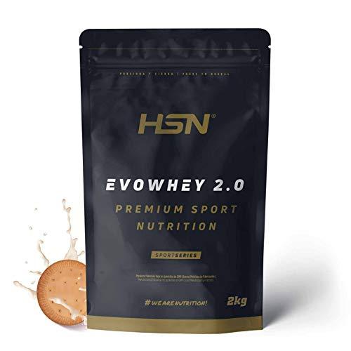 Concentrado de Proteína de Suero Evowhey Protein 2.0 de HSN | Whey Protein Concentrate| Batido de Proteínas en Polvo | Vegetariano, Sin Gluten, Sin Soja, Sabor Galletas, 2Kg