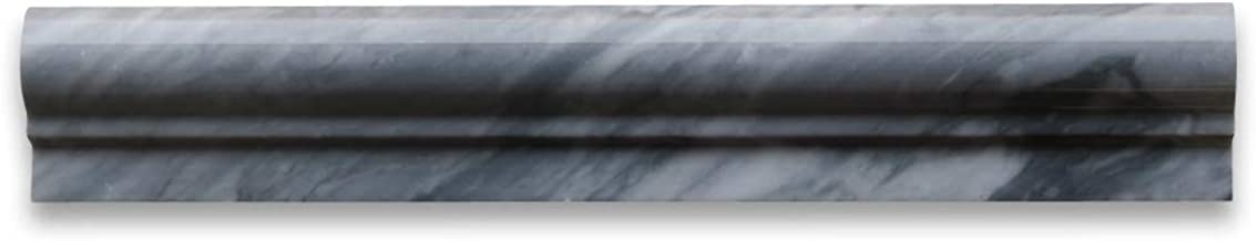 Bardiglio Gray Italian Dark Grey Marble Chair Rail Bullnose Trim Molding 2 x 12 Polished