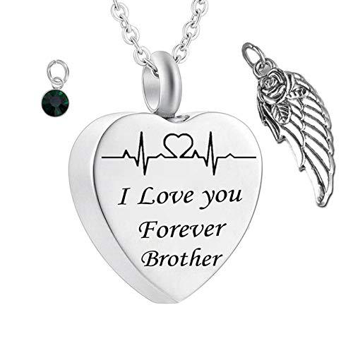Daesar Colgante Urna Cenizas Corazón con ala de Ángel Piedra del Zodíaco y ECG Grabado I Love You Forever Brother Mayo Verde Oscuro