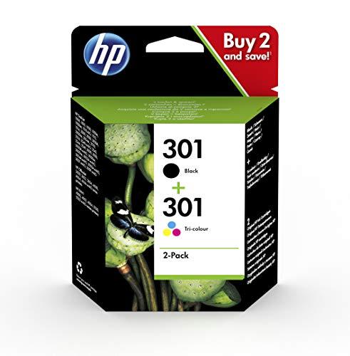 HP 301 N9J72AE , Pack de 2, Cartuchos de Tinta Originales Negro y Tricolor, compatible con impresoras de inyección de tinta HP DeskJet 1050, 2540, 3050, HP OfficeJet 2620, 4630, HP ENVY 4500, 5530