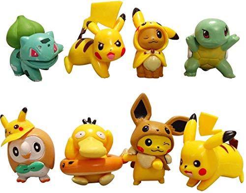 Pokémon Mini Figuren Set - YUESEN 8 Stück Geburtstags Party liefert Cupcake Pikachu Figuren Party Kuchen Dekoration Lieferungen Cake Topper für Kinder Geburtstag Baby Mädchen Junge