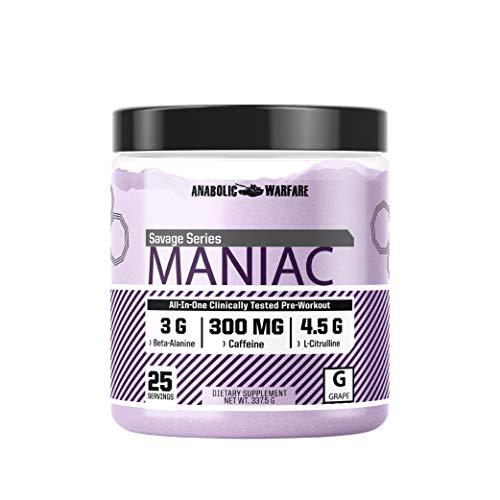 Maniac Pre Workout Powder by Anabolic Warfare – Preworkout Mix to BoostFocus & Energywith Caffeine, Beta Alanine, Lions Mane Mushroom, L Citrulline Powder and Creatine (Grape - 25 Servings)