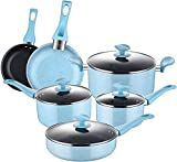 AMERICOOK, 10PC Non-Stick Pots and Pans Set - Blue Porcelain Enamel Cookware Set with Glass Lids and Stay-Cool Bakelite Handles, Includes: Nonstick Frying Pan, Saucepan, Saute Pan, Casserole