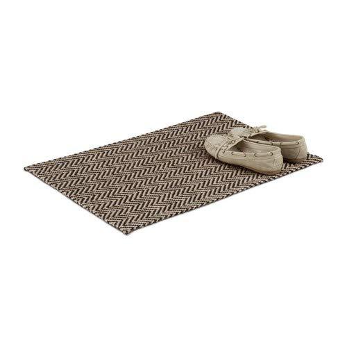 Relaxdays Fußmatte mit Zickzack-Muster, Türmatte aus Jute, handgefertigter Fußabtreter außen, 40x60 cm, natur/schwarz
