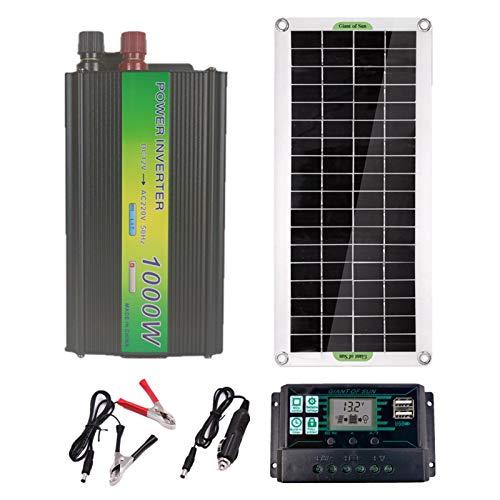 Kit de Panel Solar 1000W 12V Kit de Paquete Solar Monocristalino con Controlador de Carga Solar 13A,Cable de Extensión con Clips de Batería Terminal de Junta Tórica para Acampar,RV,Barco Marino