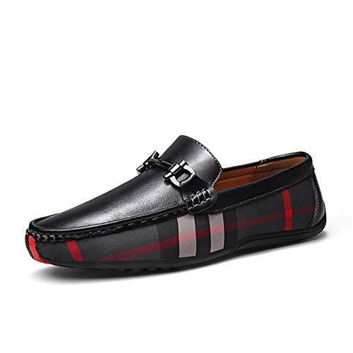 BAQI Mens Loafers beiläufige Slip-On Driving Schuhe für Männer Breathable Wohnung Mokassins Bequeme echtes Leder Schuhe,Schwarz,40