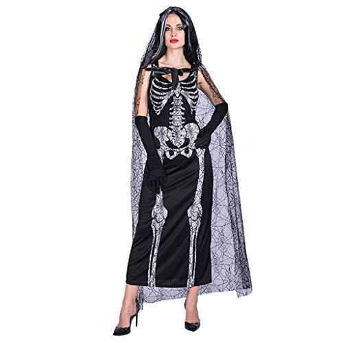 LOPILY Kostüme Damen Spitze Umhang mit Skelett Maxikleid Halloween Kostüme Vampire mit Spitze Schleier Fashingskostüme Halloween Kleid Damen Braut Kanerval Hexenkostüm Damen