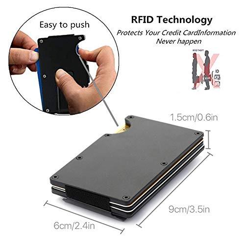 RFID Blocking Aluminum Slim Metal Front Pocket Minimalist Wallet Credit Card Case Holder Money Clip(Black)