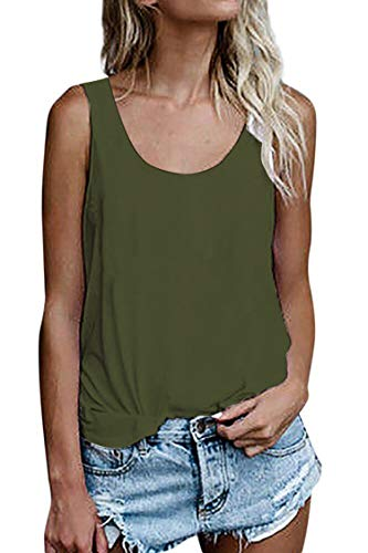 Damen Shirts Ärmellose Sommer Tunika Loose Fit Tank Tops (786Olivgrün, Large)