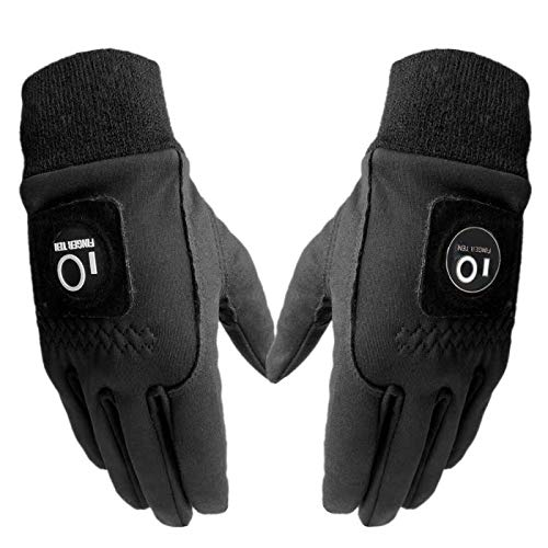 FINGER TEN Winter Golf Gloves Men with Ball Marker Grip Performance 1 Pair, Cold Weather Windproof Waterproof Size Samll…