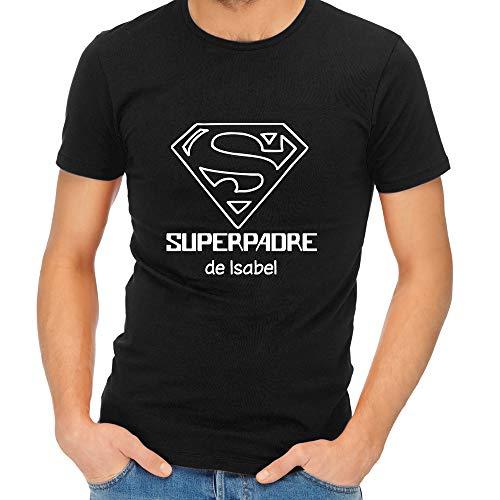 Camiseta Personalizada Superpadre Negra en Todas Las Tallas - Regalo para el Día del Padre, Navidad o su cumpleaños