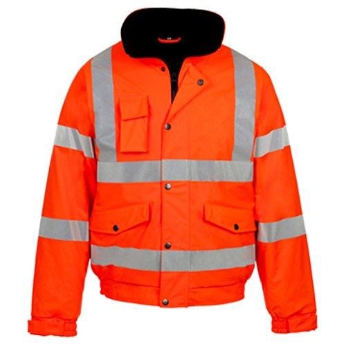 Myshoestore ad alta visibilità Bomber ad alta visibilità da lavoro da uomo Wear imbottita impermeabile con cappuccio giacche taglia S-3X L Orange Large