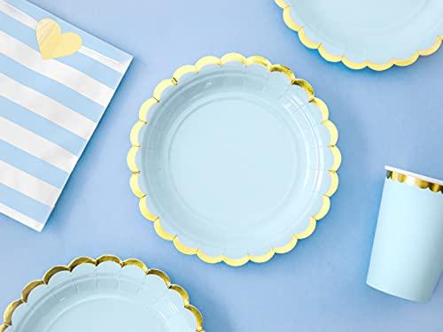 PartyDeco Lot de 6 assiettes en carton bleu avec bords dorés