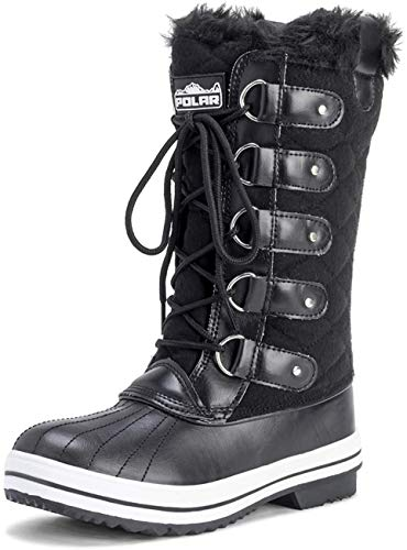 Polar Womens Snow Boot Quilted Tall Winter Snow Waterproof Warm Rain Boot - 8 - BLT41 YC0012