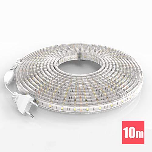 TechBox® Kit complet ruban led 10 mètres 220V silicone étanche IP68 blanc chaud 3000°K SMD5050 60led/m waterproof