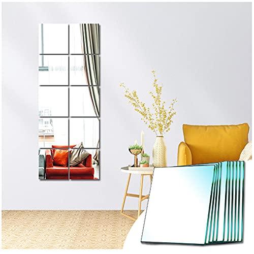 Sqinor Specchio Adesivo Quadrato Decorativi Specchi da Parete Lungo Grande per Armadio Palestra Ingresso Soggiorno Bagno (Macinatura Normale, 15x15cm, 10 Pezzi)