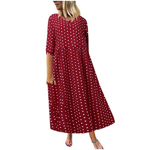 GOKOMO Damen Frühlingsmode Polka Dot Printed Bohemian Long Dress Damen Frühlingsmode Polka Dot Print Bohemian Dress(Rot,X-Large)