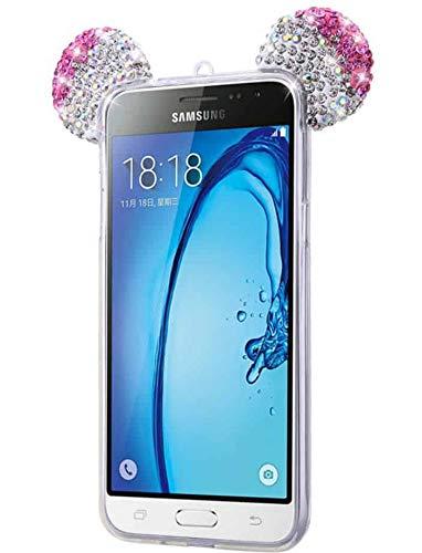 iPOMCASE Coque Pailletée Oreilles pour Samsung Galaxy J5 2016, Minnie Mickey, Rose
