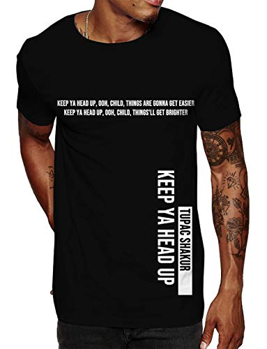 Swag Point Hip Hop T-Shirt - Funny Vintage Street wear Hipster Parody (L, Keep Your Head UP)
