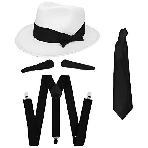 GANGSTER - Juego de accesorios para vestido de fantasía SPIV TASH + corbata negra + tirantes a juego + gorro trilby blanco de los años 20 para hombre al Capone (sombrero de 60 cm), color negro