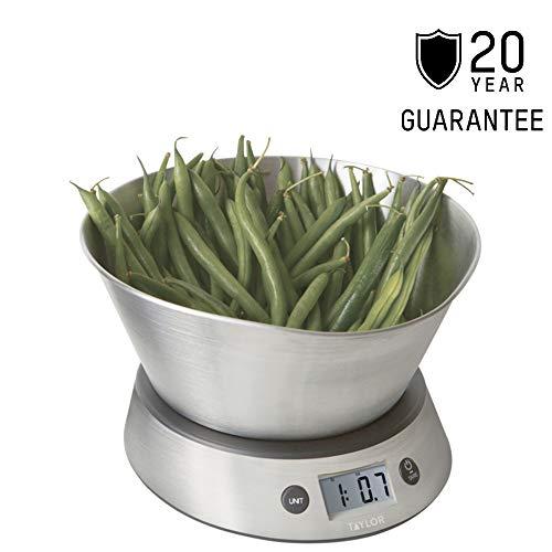 Taylor Pro digitale keukenweegschaal met kom in geschenkdoos, roestvrij staal/kunststof, zilver, 5 kg