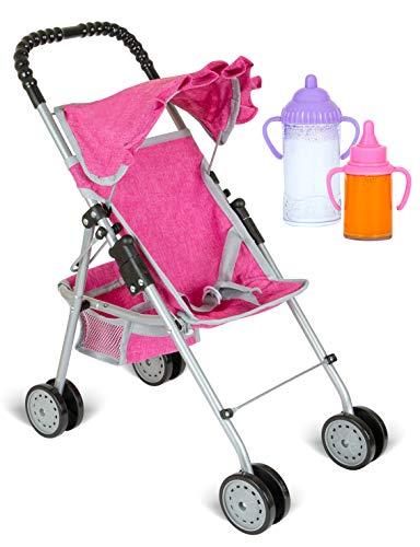 fash n kolor My First Doll Stroller with Basket - Denim Pink Foldable Doll Stroller - Fits Upto 18' Dolls, 2 Free Magic Bottles Included