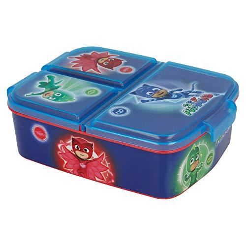 Stor PJ Masks | Sandwichera con 3 Compartimentos para niños - lonchera Infantil - Porta merienda - Fiambrera Decorada
