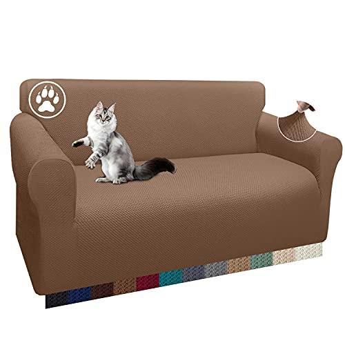 Luxurlife 1 funda gruesa para sofá de 3 plazas, elástica, antideslizante, para salón (2 plazas, camel)