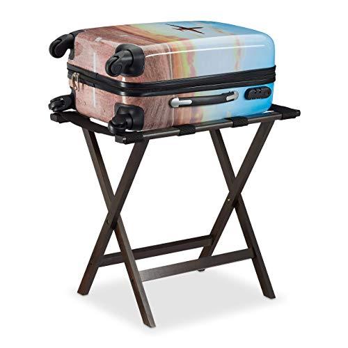 Relaxdays Kofferständer klappbar, aus Bambus, für Koffer und Gepäck, Kofferbock, HxBxT: 53,5 x 58 x 36,5 cm, dunkelbraun