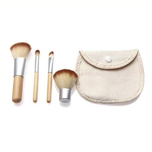 FRCOLOR Ensemble de pinceau de maquillage, pinceau cosmétique 4pcs Brush Eye Foundation Foundation Set avec sac de voyage