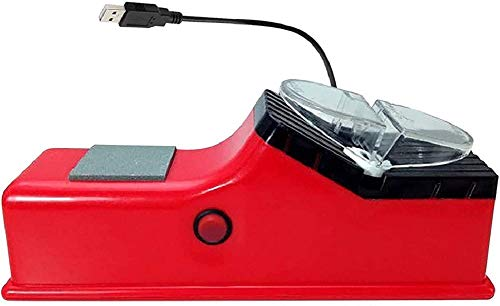 Usb Rechargeable Electric Knife Sharpener, Double Sided Whetstone, Electric Knife Sharpener,High Precision and Fast Grinding with Protection Restore and Polish Blades (Red)