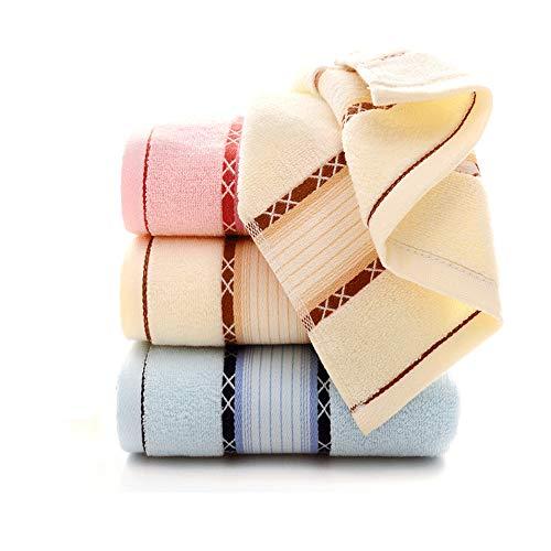 Qrity 3X Handtücher wasserabsorbierendes Badetuch-Set, 100% Baumwolle, 35x75cm, 3 Farben