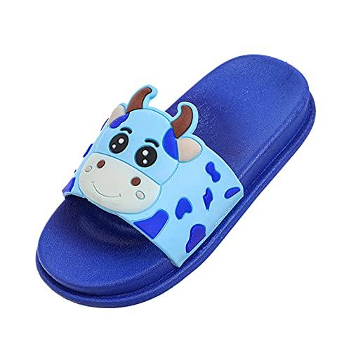 Pantuflas planas para estar por casa o para niños, para el verano, para la playa, para el hogar, para exteriores, con suelo suave, antideslizantes, bonitas pantuflas, azul, 25