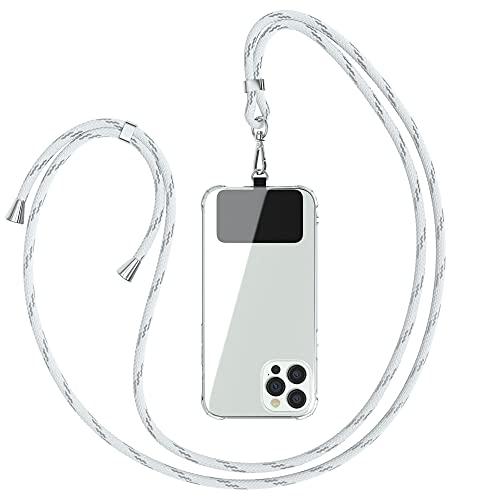 EAZY CASE Universal Handykette geeignet für alle Smartphones, Kette zum Umhängen, Hülle mit Kordel, Smartphonekette für Unterwegs, Handyband mit jeder Hülle kombinierbar, Weiß/Silber