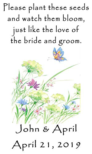 Wedding Favor Wildflower Seed Packets Personalized Butterfly Flowers Design 6 verses to choose from Set of 100