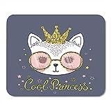 Alfrombrillas Ratón Gafas Cute Cat Cool Princess Kitty tee Adorable Animal Decor Gaming Mouse Pad 25X30Cm Oficina Antideslizante Respaldo De Goma Alfrombrillas Alfombrilla De Ratón