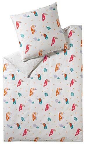 ESPRIT Kinder Bettwäsche 135x200 • Kinderbettwäsche • Kissenbezug 80x80 cm • 100% Baumwolle • Toucan