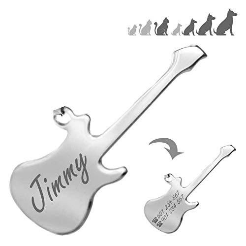 Iberiagifts - Placa identificación de acero inoxidable en forma de guitarra. Para mascotas medianas a grandes. Acero inoxidable. Chapa medalla de identificación personalizada Collar Perro Gato grabada