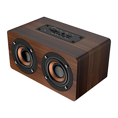 Agatige Altavoz Bluetooth de Madera, Subwoofer Altavoz Inalámbrico Retro con Radio FM Reloj Musical de Alta Fidelidad Alarma Altavoz Estéreo (Grano de Palma)