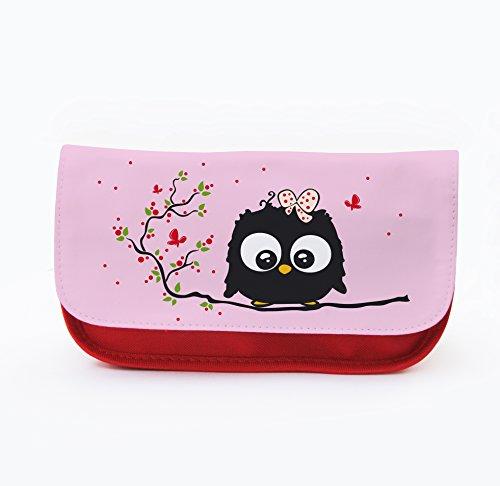 Trousse pour cosmétiques, motif chouettes Juin F019 Sac Happy/rose