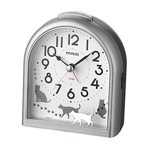 MAG(マグ) 目覚まし時計 アナログ ミグレイト ネコ 連続秒針 シルバー T-747SM-Z