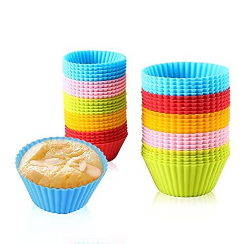 Suny Smiling Lot de 25 moules à muffins anti-adhésifs en silicone réutilisables, pour cuisson de petits gâteaux, muffins, cupcakes et pâtisseries, 5 couleurs
