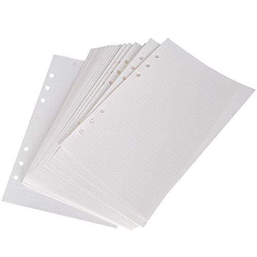 160 hojas A5 6 anillas de papel de recambio para diario, cuaderno de anillas, diario de viaje, 6 agujeros, planificador de papel de repuesto, hojas de oficina (320 puntas)