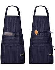 Viedouce 2-pack förkläde matlagning kök vattentätt, justerbart kockförkläde med fickor för hem, restaurang, hantverk, trädgård, grillning, skola, kafé, förkläde för män kvinnor