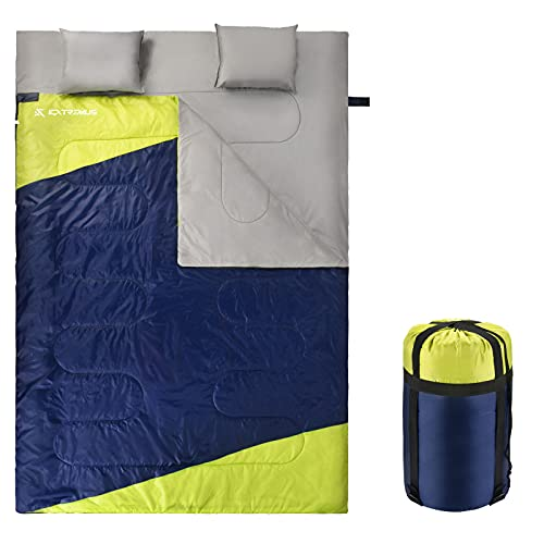 Extremus Cascade Sleeping Bags, Double Persons,Navy Blue/Chartreuse